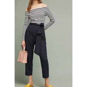 Anthropologie Pinstriped High Waisted Pants w/ Tie